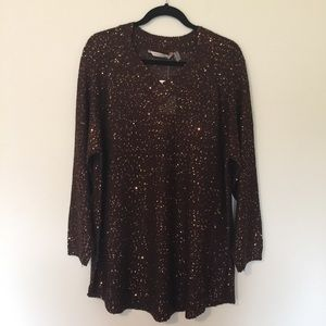 Soft Surroundings   Brown Shimmer Tunic Sweater S